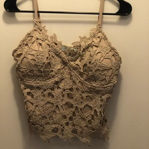 She & sky lace crop top